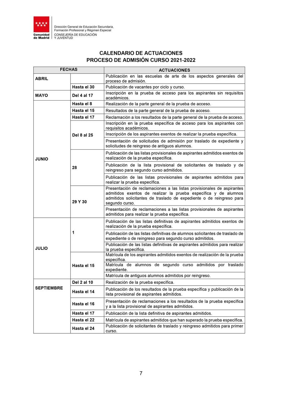 Calendario Proceso Admisión Escuelas de Arte 2021-22